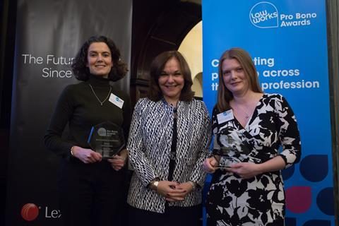 Best Contribution by an Individual –  The jointly nominated winners Felicity Kirk, Ropes & Gray LLP, and Rebecca Greenhalgh, Ashurst LLP, receiving their award from Hilarie Bass (President, American Bar Association)